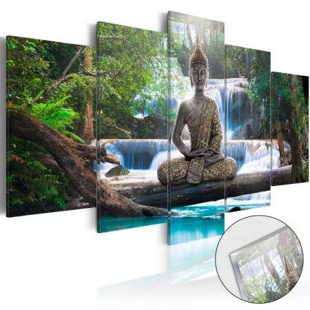 Obraz na szkle akrylowym  Budda i wodospad [Glass]
