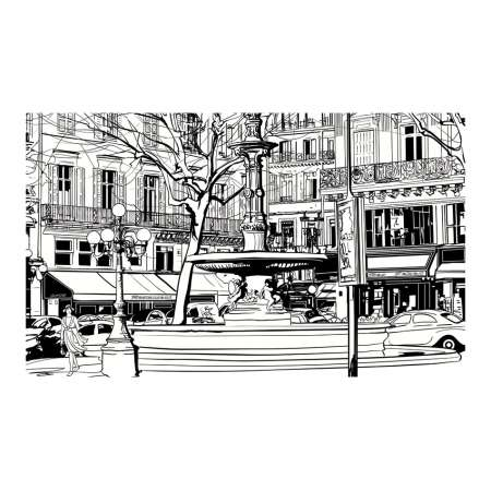 Fototapeta  Sketch of parisian fountain