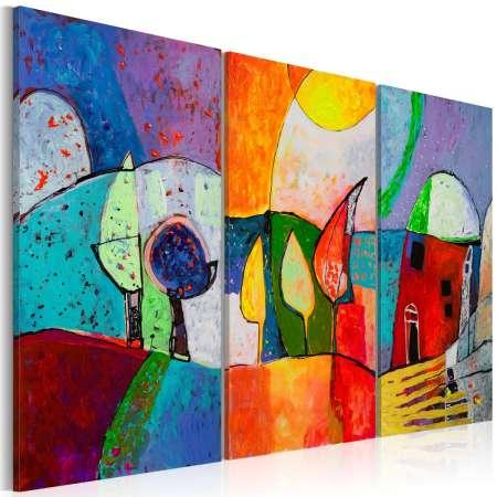 Obraz malowany  Kolorowy pejzaż