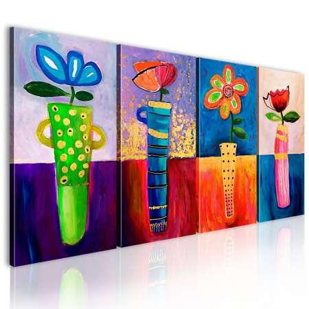 Obraz malowany  Tęczowe kwiaty