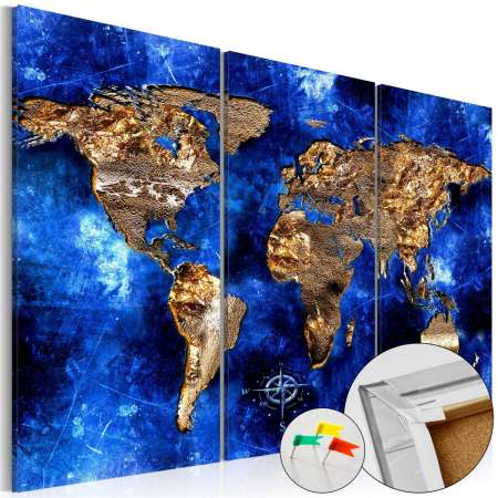 Obraz na korku  Złote kontynenty [Mapa korkowa]
