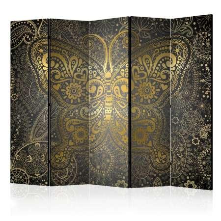 Parawan 5częściowy  Złoty motyl II [Room Dividers]