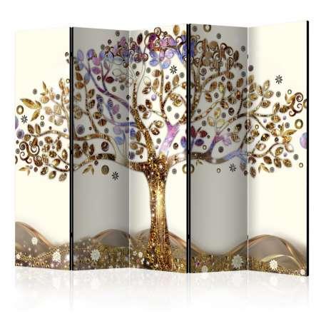 Parawan 5częściowy  Złote drzewo II [Room Dividers]