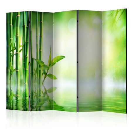 Parawan 5częściowy  Zielony bambus II [Room Dividers]
