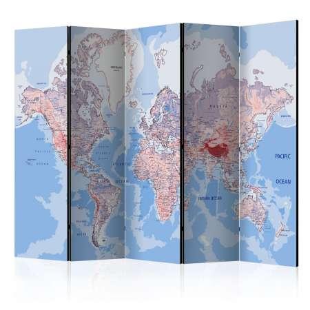 Parawan 5częściowy  Parawan Mapa świata