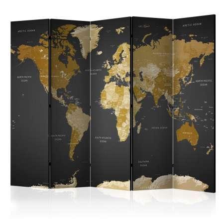 Parawan 5częściowy  Parawan Mapa Świata na ciemnym tle
