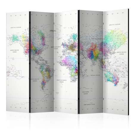 Parawan 5częściowy  Parawan Mapa Świata biało  kolorowa