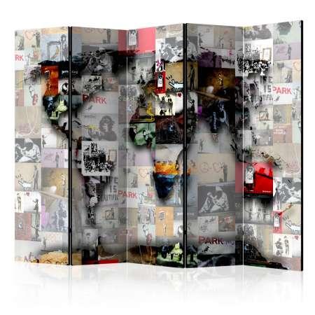 Parawan 5częściowy  Parawan Mapa Świata  Banksy