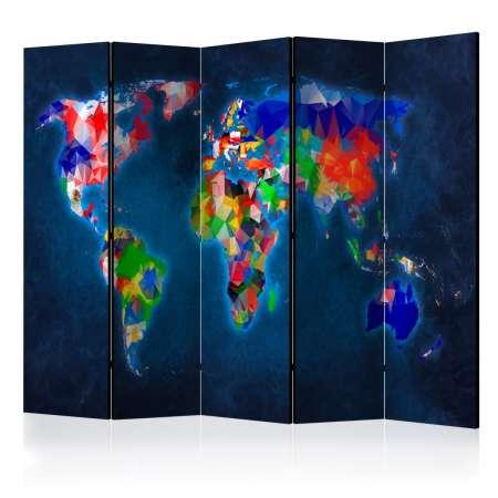 Parawan 5częściowy  Parawan Mapa kolorowa