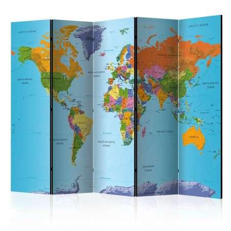 Parawan 5częściowy  Kolorowa geografia [Room Dividers]