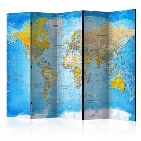 Parawan 5częściowy  Klasyczna mapa świata [Room Dividers]