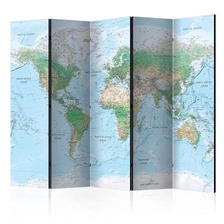 Parawan 5częściowy  Mapa świata [Room Dividers]