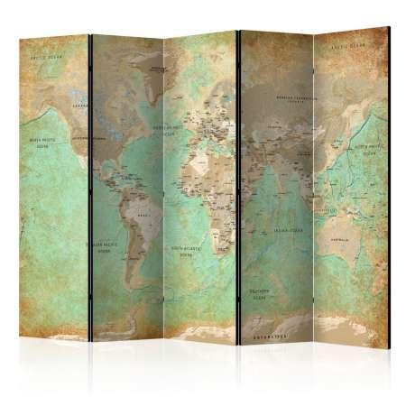 Parawan 5częściowy  Turkusowa mapa świata [Room Dividers]