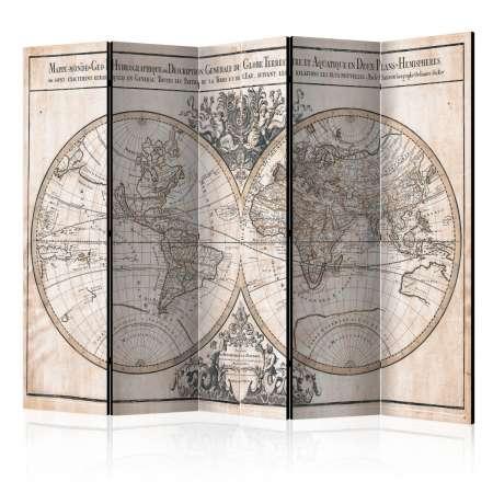 Parawan 5częściowy  MappeMonde GeoHydrographique [Room Dividers]