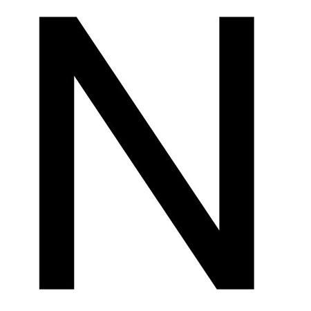 Szablon malarski litera N , czcionka Arial