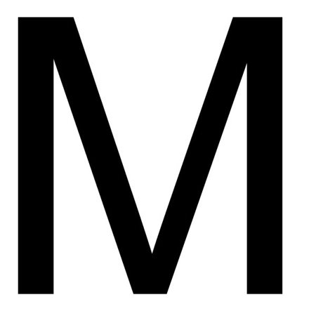 Szablon malarski litera M , czcionka Arial