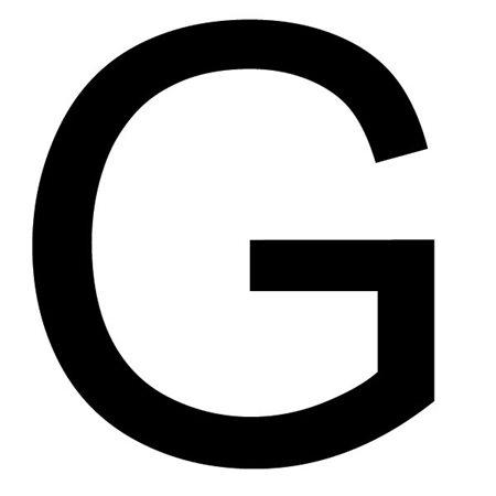 Szablon malarski litera G , czcionka Arial