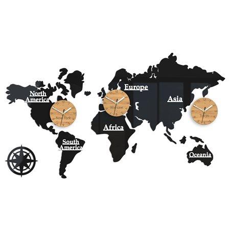 Zegar ścienny Mapa  3 strefy