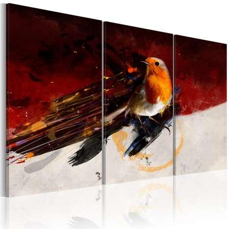 Obraz  Mały ptaszek na czerwonobiałym tle