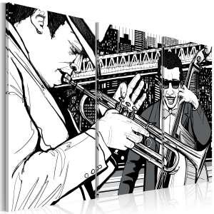 Obraz  Koncert jazzowy na tle nowojorskich wieżowców