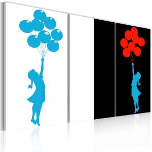 Obraz  Floating balloon girl  triptych