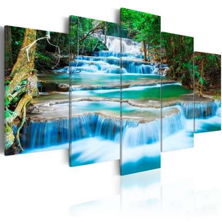 Obraz  Błękitny wodospad w Kanchanaburi, Tajlandia