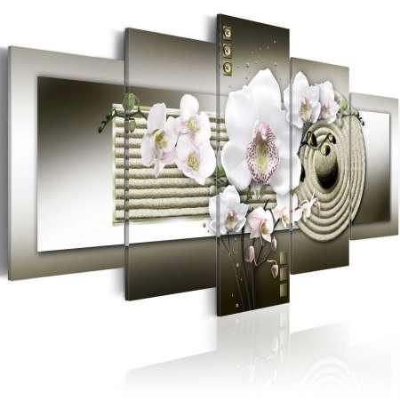 Obraz  Orchidea i ogród zen w szarościach