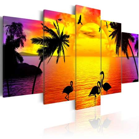 Obraz  Zachód słońca i flamingi