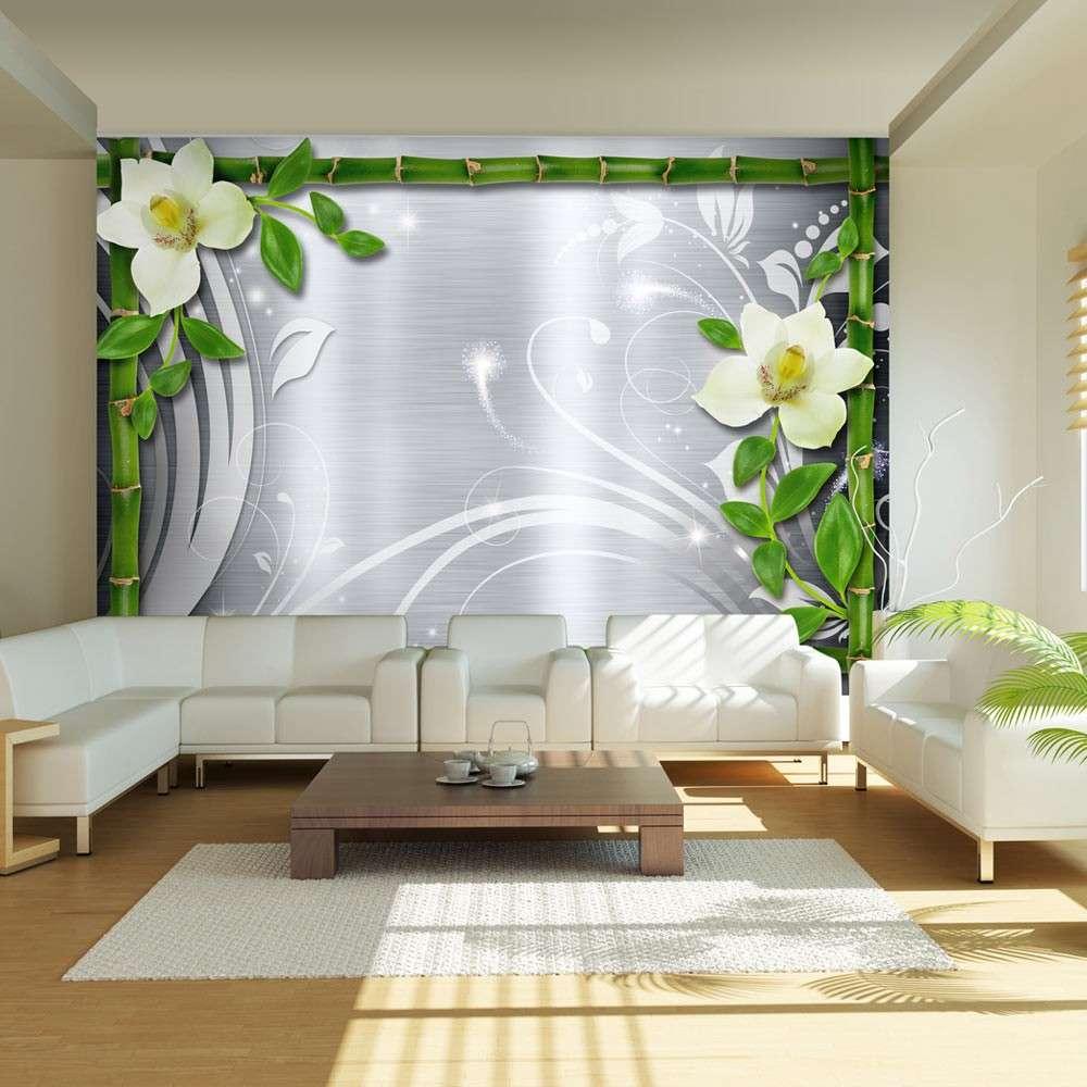 Fototapeta  Bambus i dwie orchidee