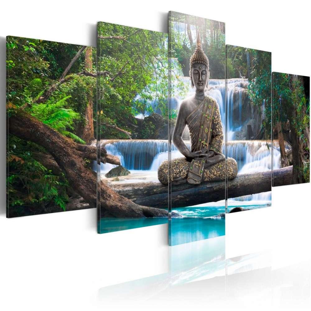 Obraz  Budda i wodospad