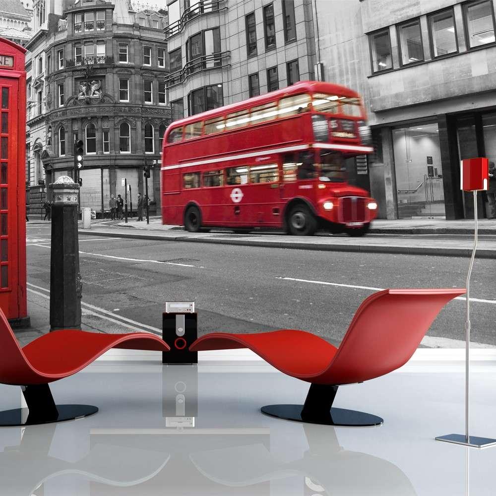 Fototapeta  Londyn czerwony autobus i budka telefoniczna