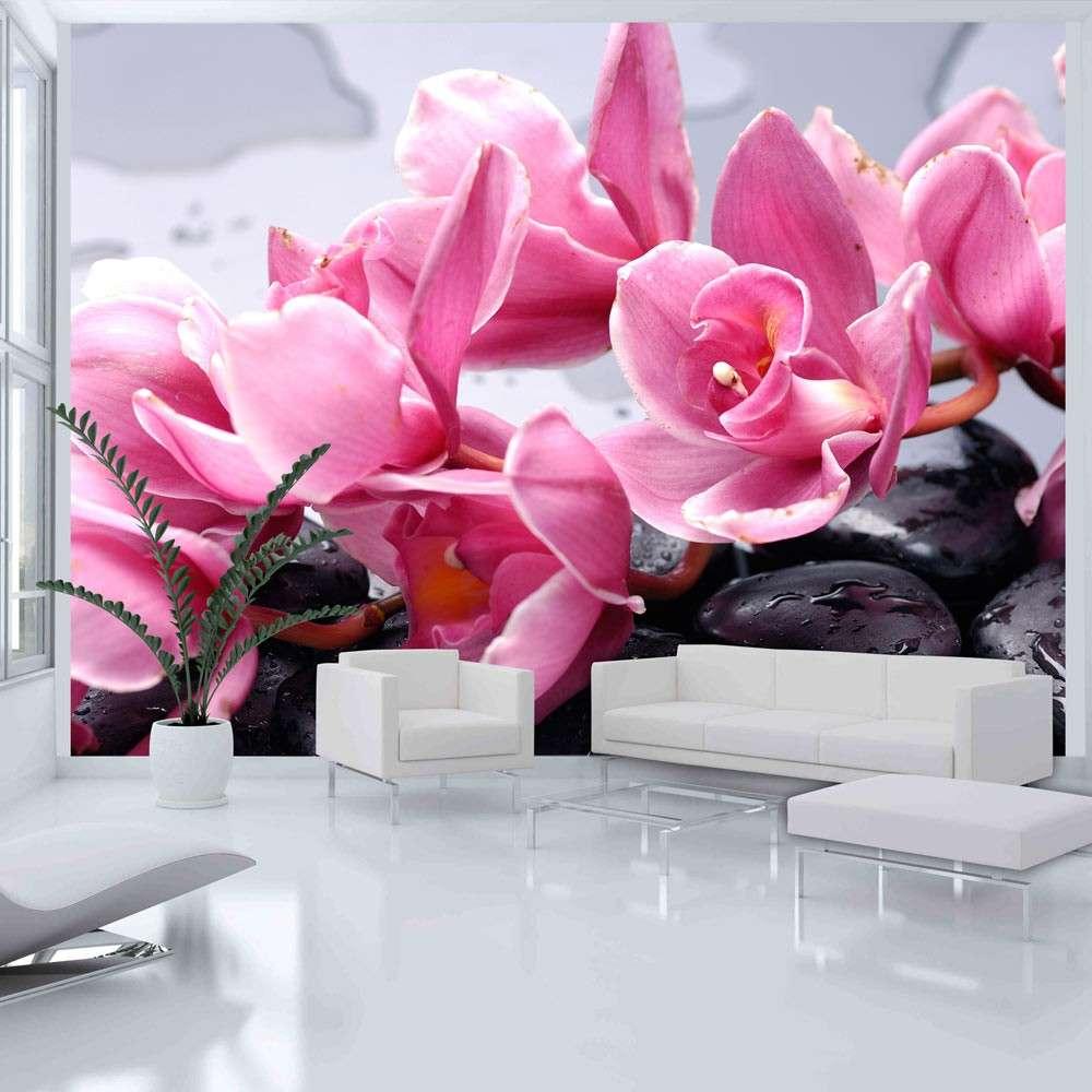 Fototapeta  Kwiaty orchidei i kamienie zen