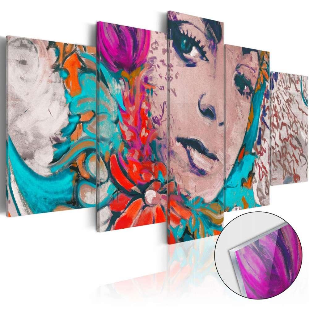 Obraz na szkle akrylowym  Kolorowa kokietka [Glass]