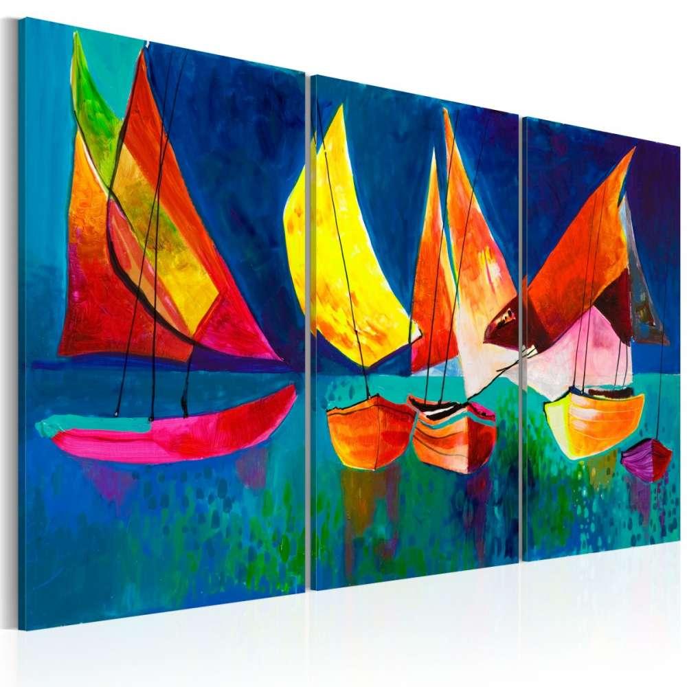 Obraz malowany  Kolorowe żaglówki