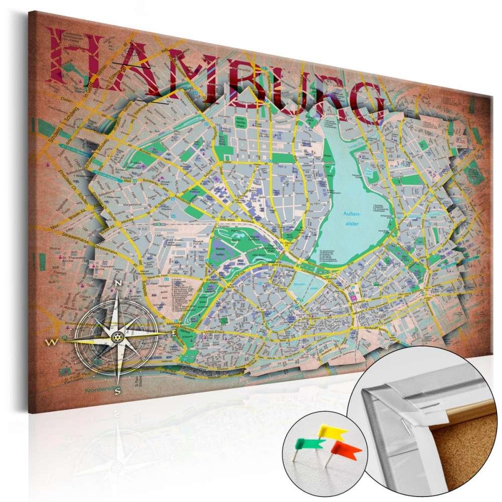 Obraz na korku  Hamburg [Mapa korkowa]