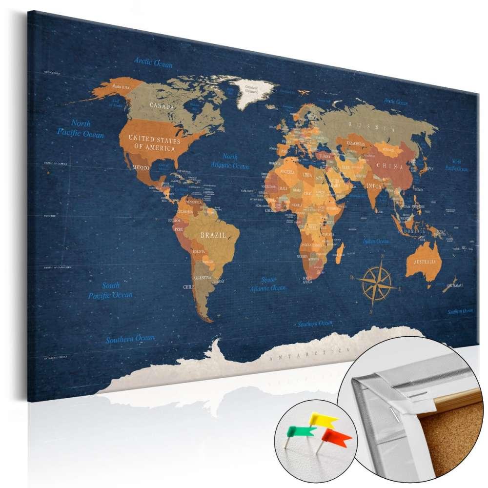 Obraz na korku  Atramentowe oceany [Mapa korkowa]