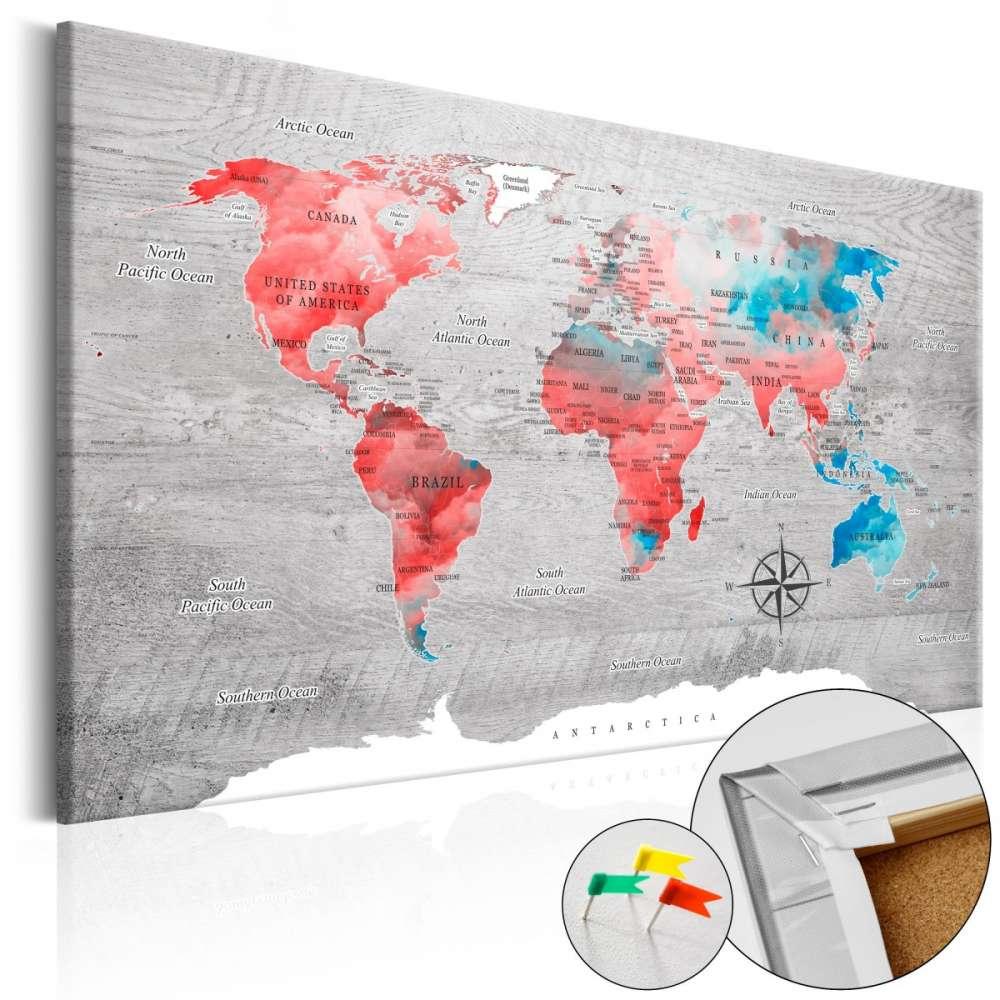 Obraz na korku  Czerwona wędrówka [Mapa korkowa]