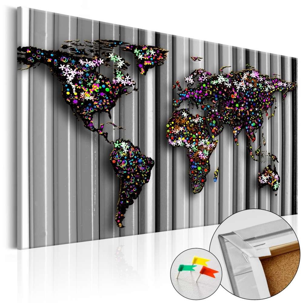 Obraz na korku  Grafitowy świat [Mapa korkowa]