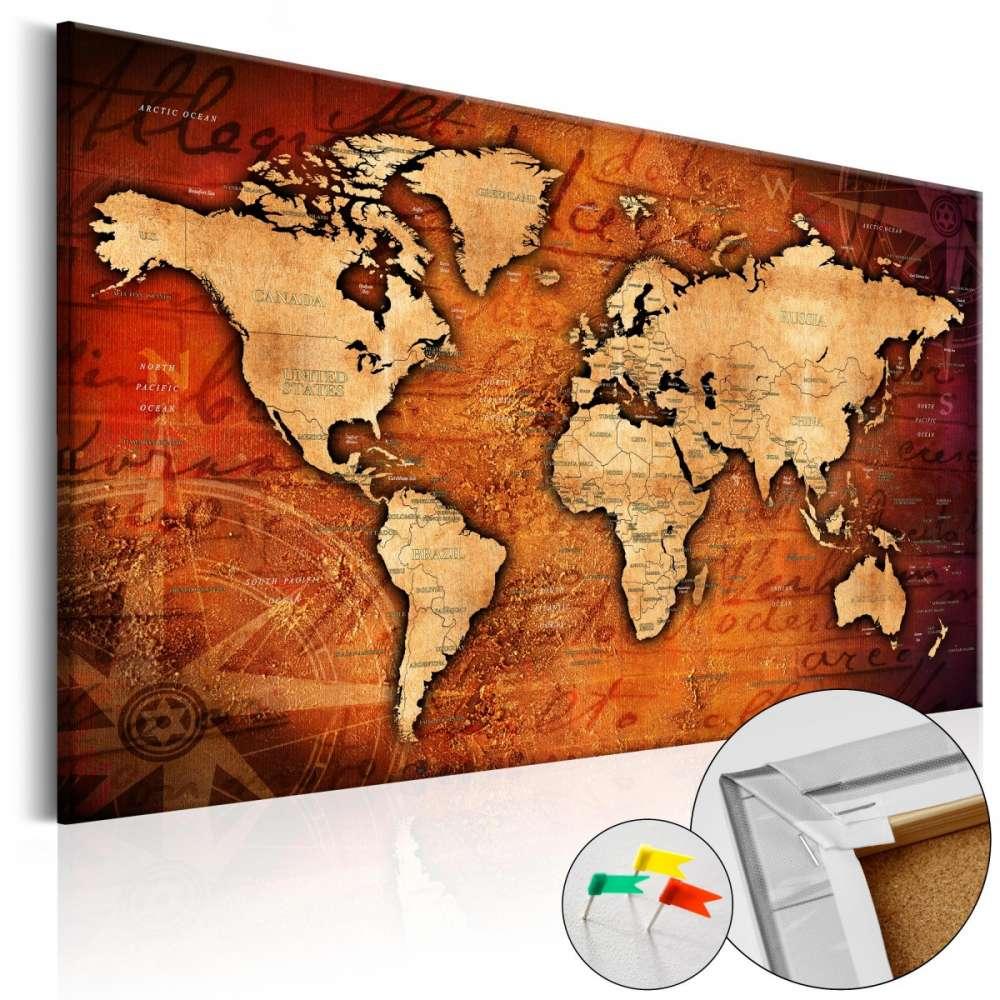 Obraz na korku  Bursztynowy świat [Mapa korkowa]
