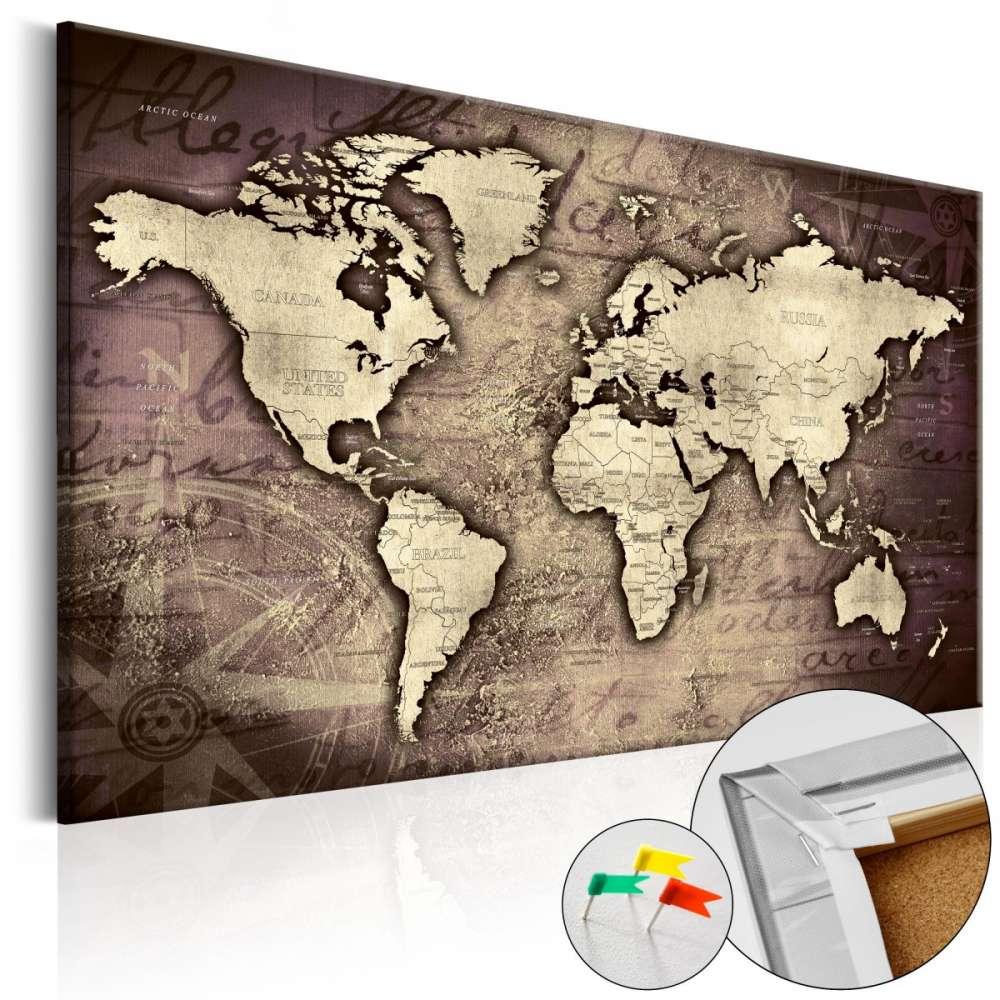 Obraz na korku  Drogocenny świat [Mapa korkowa]