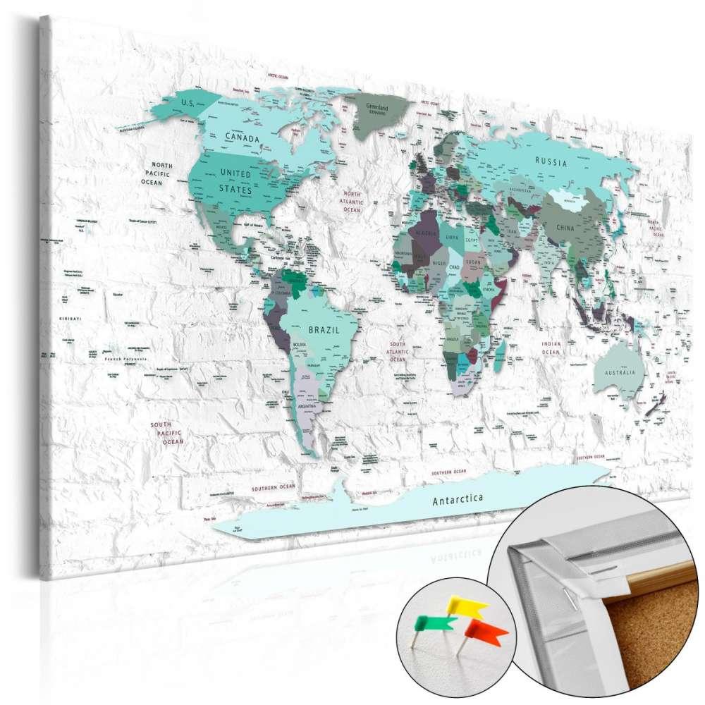 Obraz na korku  Błękitna granica [Mapa korkowa]