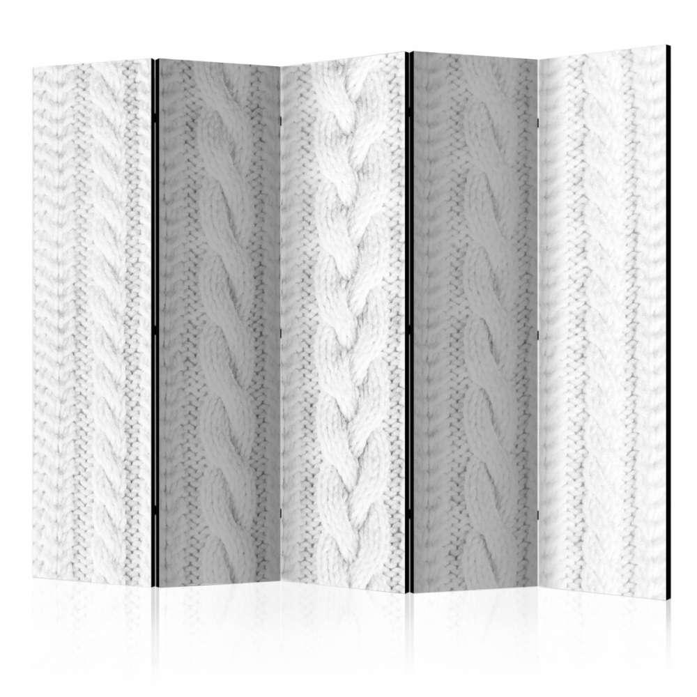 Parawan 5częściowy  Biały splot II [Room Dividers]