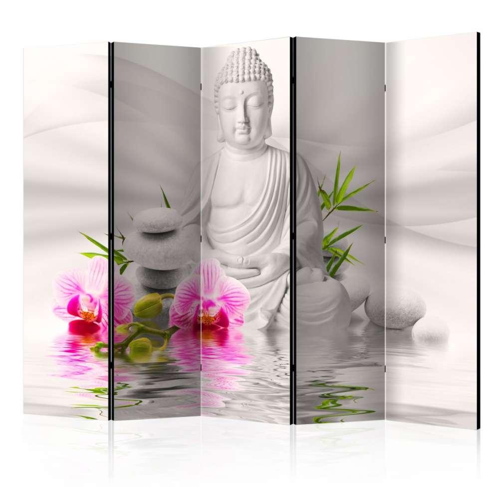 Parawan 5częściowy  Budda i orchidee II [Room Dividers]