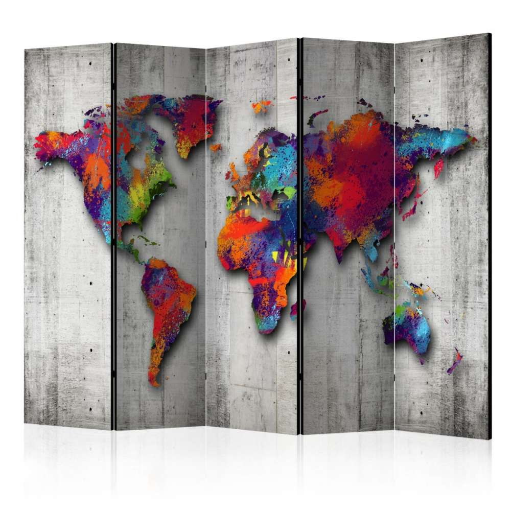 Parawan 5częściowy  Betonowy świat [Room Dividers]