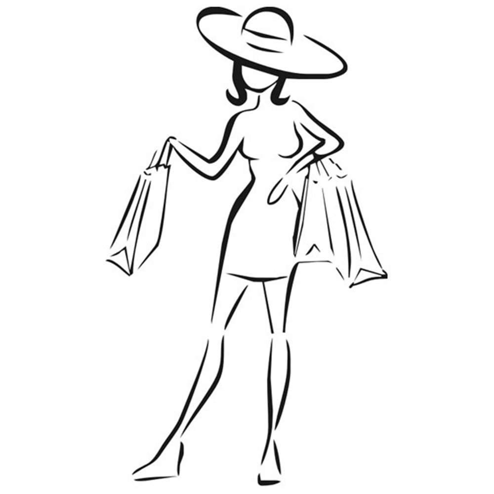Szablon malarski EXL110, kobieta na zakupach, shopping, laska, zakupy, torby, EXL 110