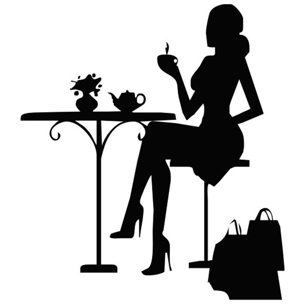 Szablon malarski EXL111, kobieta po zakupach na kawie, shopping, laska, zakupy, torby kawa, EXL 111