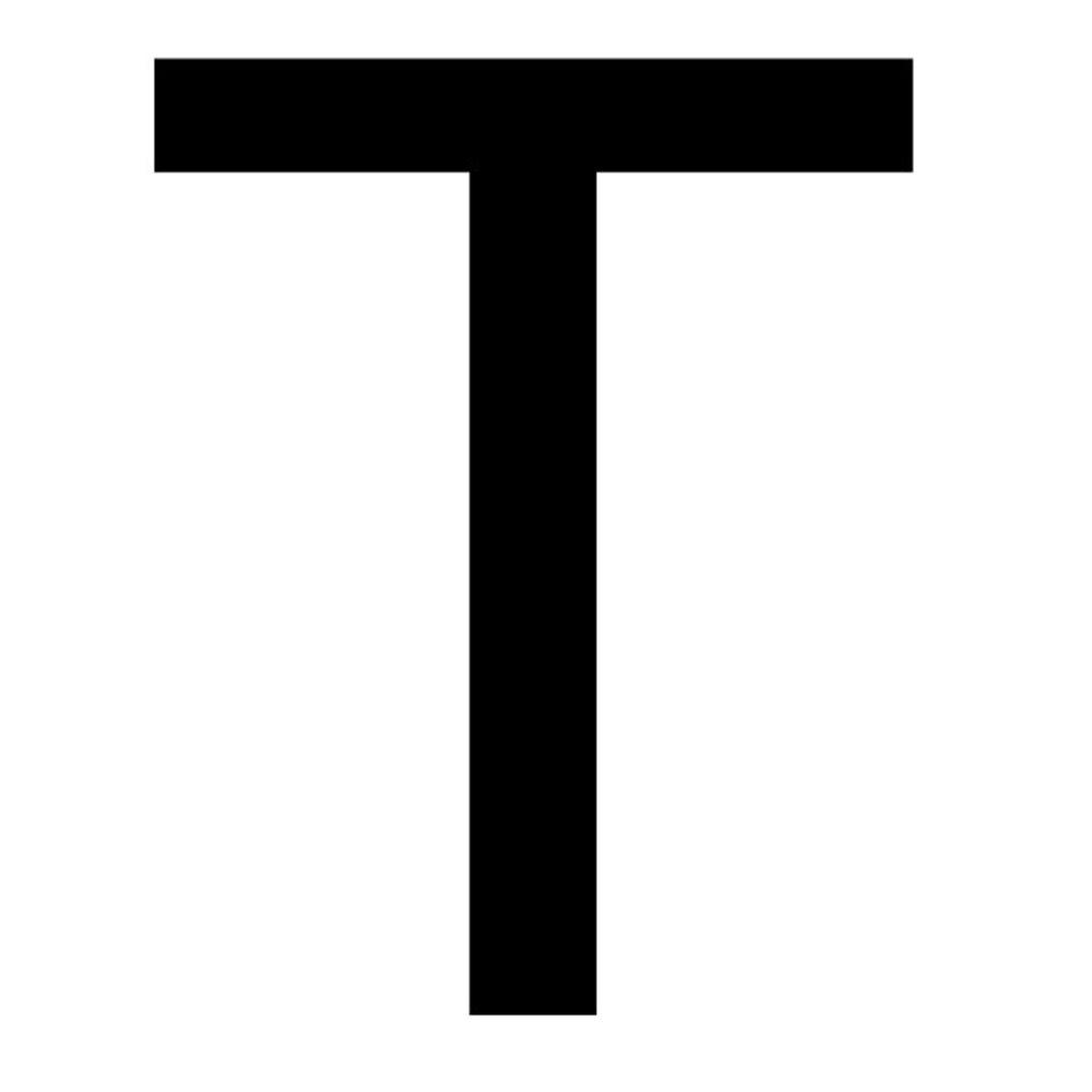 Szablon malarski litera T , czcionka Arial