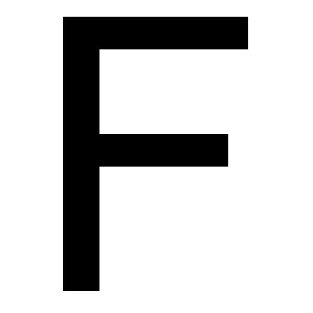 Szablon malarski litera F , czcionka Arial