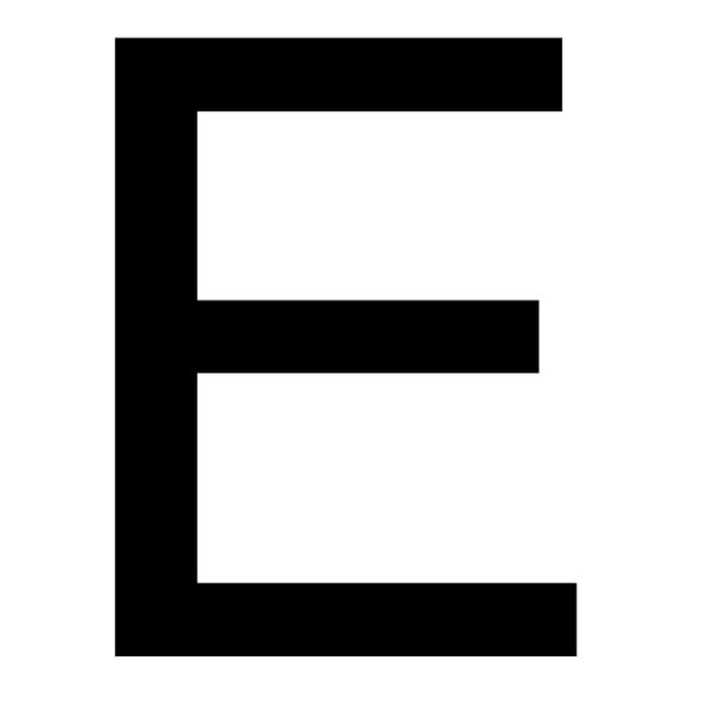 Szablon malarski litera E , czcionka Arial