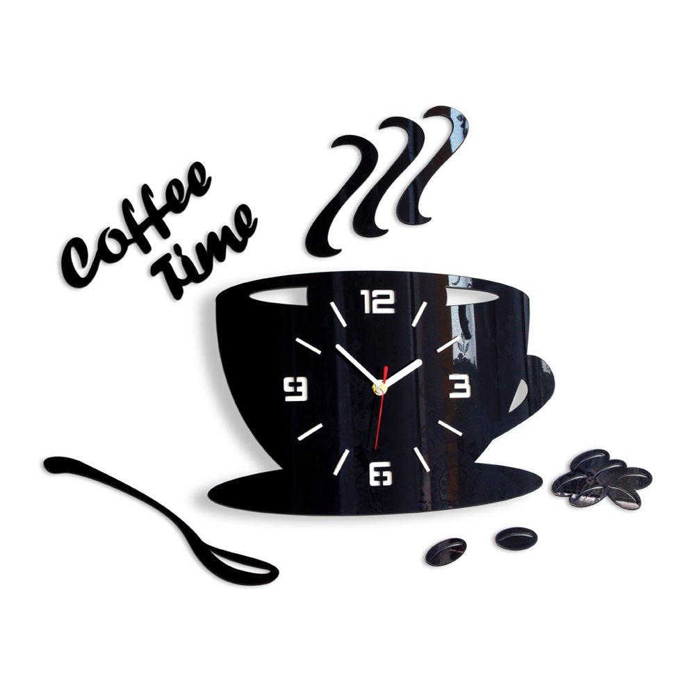 Zegar ścienny Coffe Time 3D Black